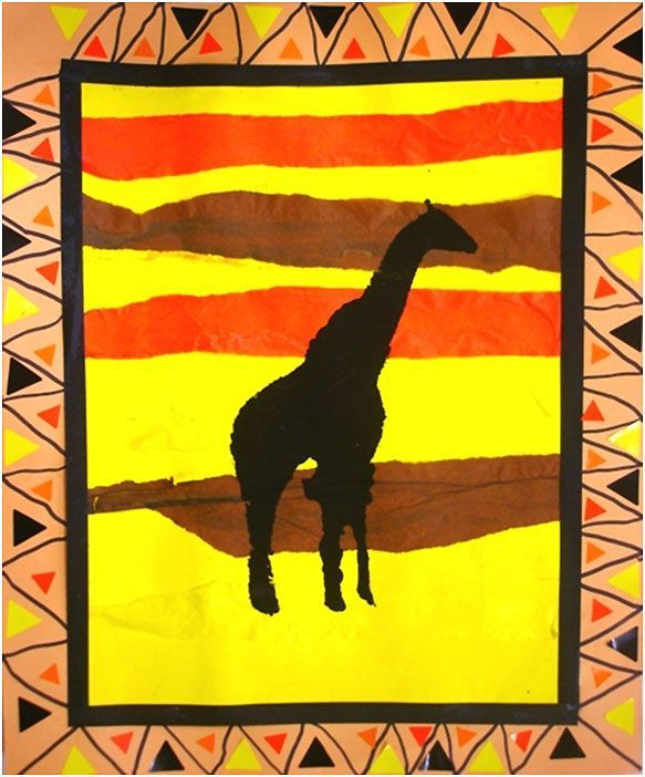 African art lesson.  In French, but may be able to figure out some of the steps // could do this as a silhouette lesson as well- kids paint the background and glue a black construction paper cutout of an animal or such on as a silhouette- to yeah them silhouettes are the outlines of the shapes and not details: