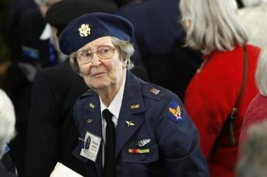 Decades later, women pilots from World War II get their due. WASPS (Women Airforce Service Pilots) received the Congressional Gold Medal for the missions they flew during World War II. Wearing her WASP uniform from World War II,  is Eleanor Brown, who attended the ceremony.