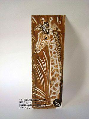 Segnalibro dipinto a mano con giraffa. Handmade bookmark with giraffe.
