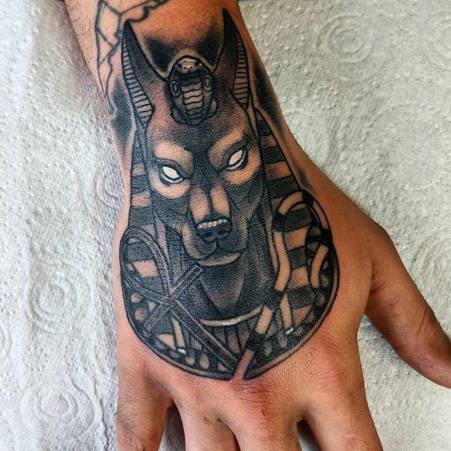 Ollie Keable Tattoos On Twitter Anubis On Floriano S Hand Egyptian Tattoo Sleeve Egyptian Tattoo Elephant Tattoos