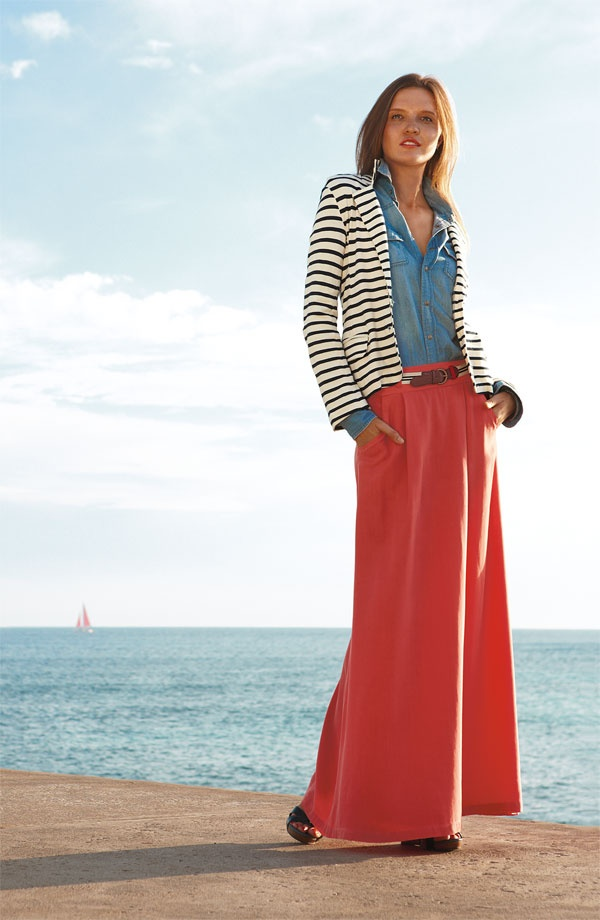 Belted maxi skirt + denim shirt + nautical blazer