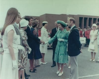 Queen Elizabeth II & Prince Philip visit Wolfville, 1975. Randall House Museum collection, Wolfville