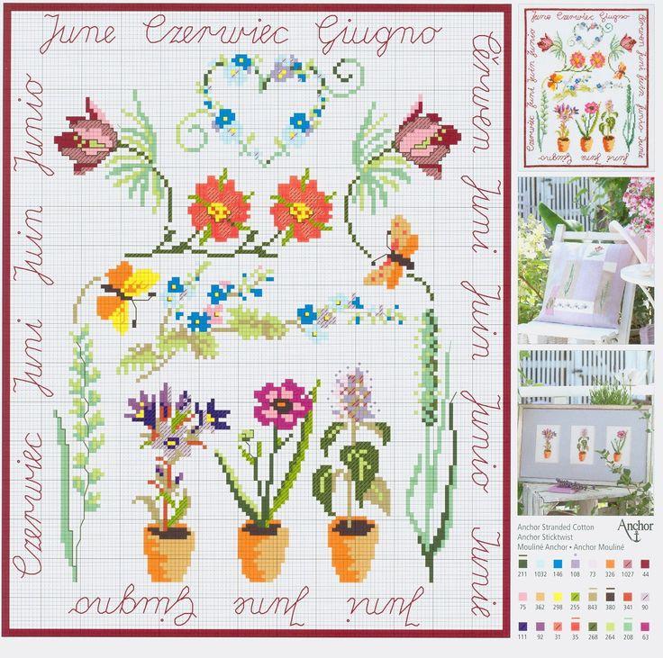 June Flowers free cross stitch pattern from www.coatscrafts.pl