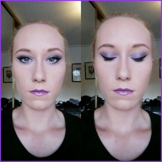 Purple cat eye, purple lip paint