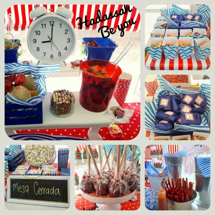 Mesa de dulces rojo y azul