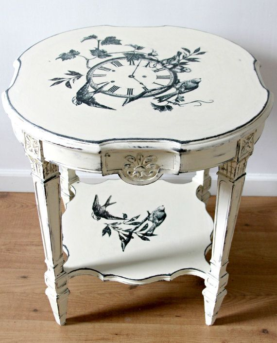 Old White Annie Sloan Chalk Paint  with Graphite & image transfer  round Coffee Table.   Accent Table, Coffee Table, Side Table,Small Table by LoveLiveNCreate