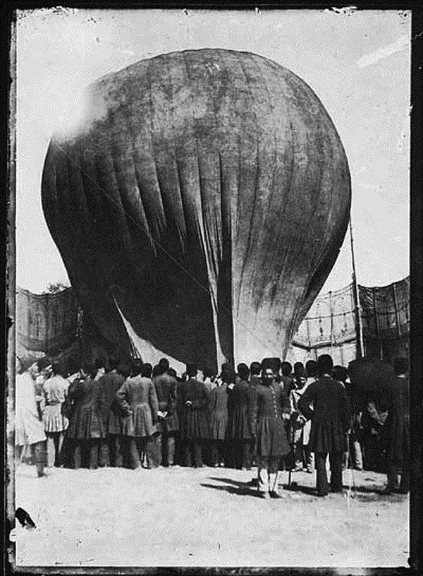First hot air balloon in Tehran, Iran, 1877 there is a