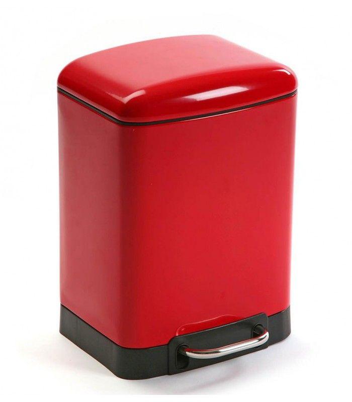 poubelle de salle de bain rectangulaire en mtal rouge