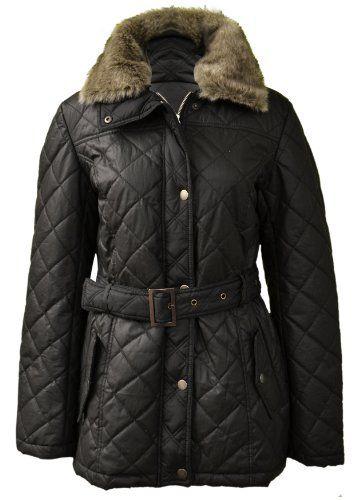 New Damen quilted Jacke Damen Gürtel Knopf Reißverschluss faux fur Mantel Größe10 12 14 16 (10, Schwarz) Vitageclothing http://www.amazon.co.uk/dp/B009D4XT5C/ref=cm_sw_r_pi_dp_vwPhvb1PWGY5K