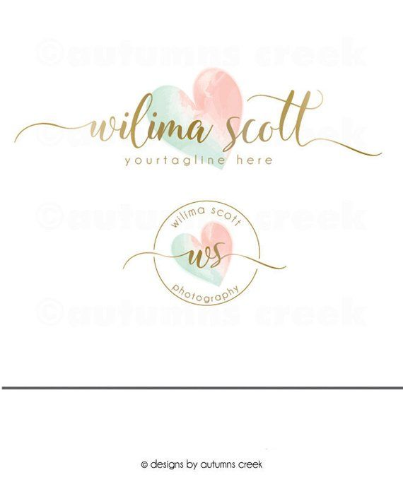 Photography Logos Gold Logo Premade Logo Watercolor Logo For