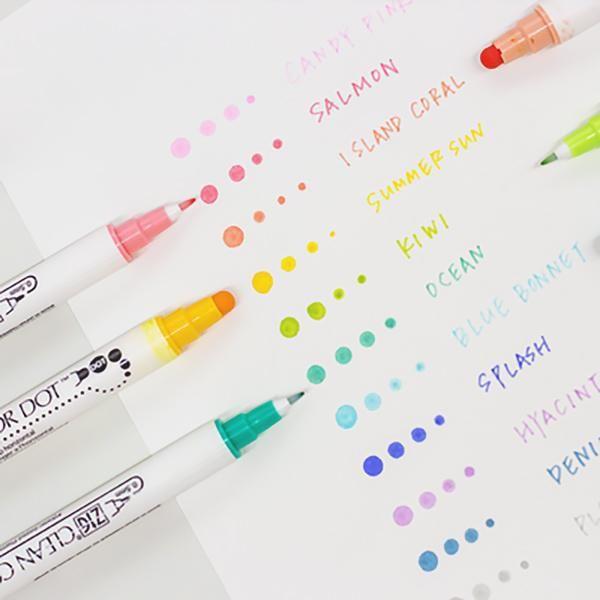 Kuretake Zig Clean Color Dot Double Sided Marker 12 Colors Set