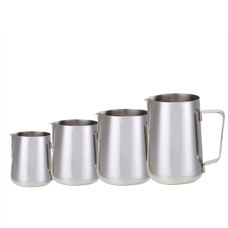 Barista style milk frothing jugs as used in cafes. Available in multiple sizes to perfectly suit the size and number of cups of coffee you want to make.