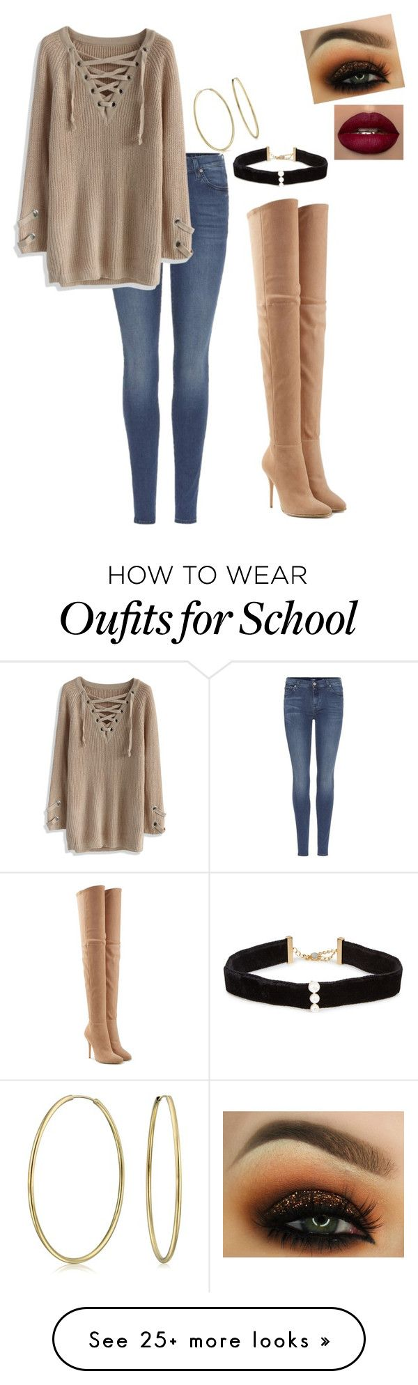 """OOTD for tomorrow: last day of school and finals before Xmas break"" by vireheart on Polyvore featuring 7 For All Mankind, Balmain, Anissa Kermiche, Chicwish and Bling Jewelry"