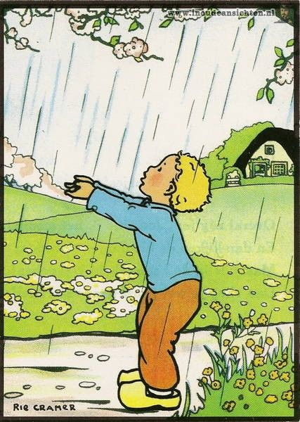 Rie Cramer (Dutch 1887-1977) - Child in Rain postcard Serie A-11