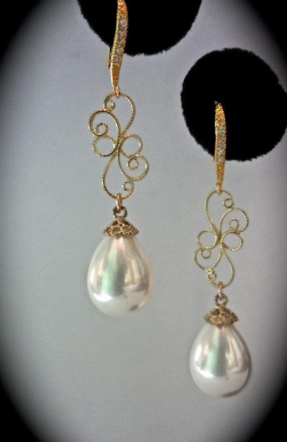 White pearl drop earrings  Gold Long  ONE OF by QueenMeJewelryLLC