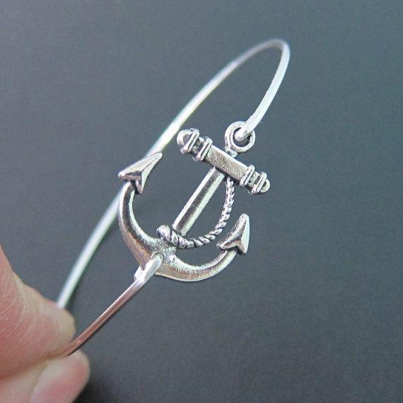 Silver Anchor Bracelet, Ocean Themed Jewelry, Navy Wife Bracelet, Navy Girlfriend Bracelet, Nautical Jewlery, Braclet, Sea Themed Jewelry