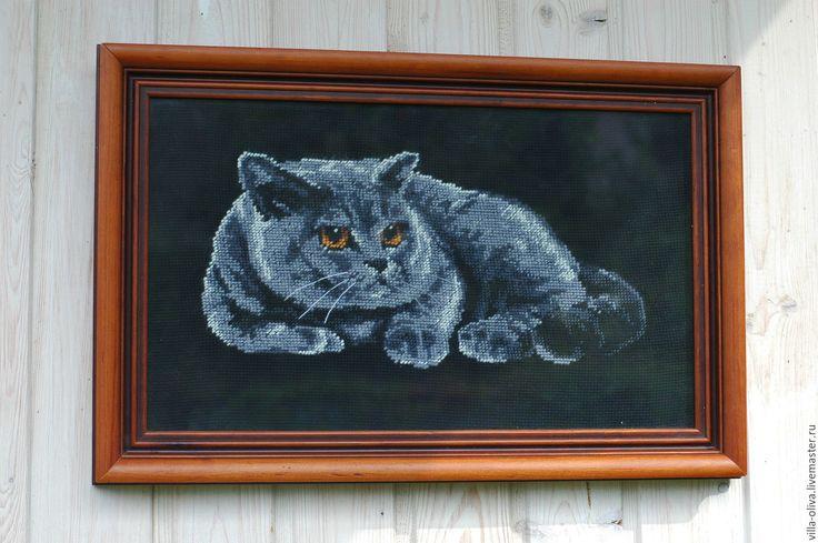 Купить Кот картина вышивка в раме счетный крест черный фон - черный, кот, вышивка