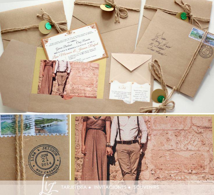 Lina & Jeisson ● Invitaciones pocketfold que evocan el estilo Art Deco & Gatsby Style de los fabulosos años 20, diseñadas para la boda temática de estos queridísimos clientes / 1920s / You've Got Mail / letter / Vintage / Retro