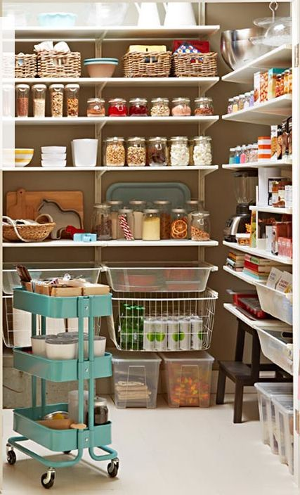 IKEA pantry, using Algot shelving & a bunch of other Ikea products (RÅSKOG kitchen cart $50, BURKEN jar & KORKEN jar $4 ea).
