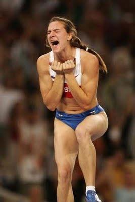 The reaction of clearing a new height :) Yelena Isinbaeva
