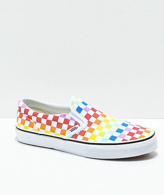 7e1084049887 Vans Slip-On Rainbow Checkerboard Skate Shoes Skate Wear