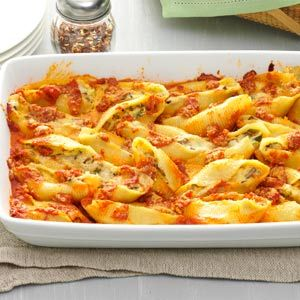 Five-Cheese Jumbo Shells Recipe -Using five cheeses in one dish doesn't usually translate to a dish that's considered light, but this meatless meal is proof that it can be done with great success (and flavor!) The shells freeze beautifully so leftovers are a cinch to save for another quick dinner option when you're in a pinch for time. —Lisa Rensshaw, Kansas City, Missouri