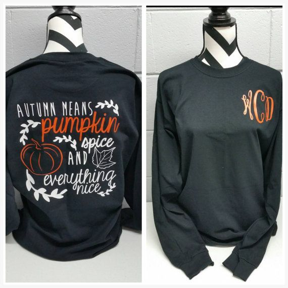 Monogrammed Pumpkin Spice Long Sleeve Shirt. Southern Shirt. Southern Girl.. Tailgating. Tailgate. Football. Football Tailgate.