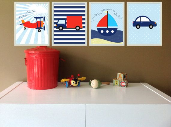 Transport Prints Set of 4 / Boys Nursery Art Prints