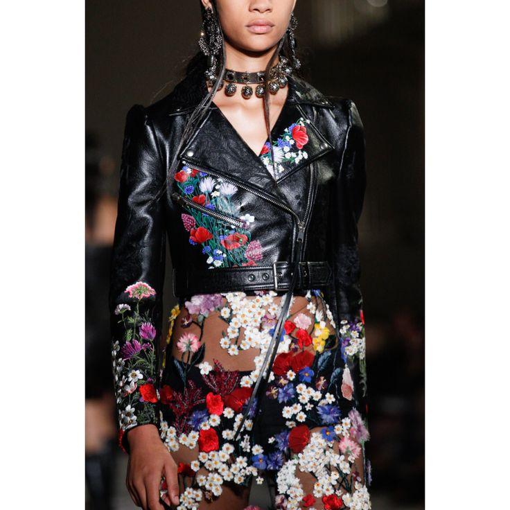 Alexander McQueen. #leather #jacket #floral #skirt #dress #fashion #Vogue #VogueRussia #readytowear #rtw #springsummer2017 #AlexanderMcQueen #VogueCollections