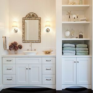 bathrooms - white, vanity, cabinet, mirror, white, vessel, porcelain, sink, built-ins, glossy, ebony, wood floors, built-ins, bathroom, cabinet, built ins, bathroom built ins, built in cabinets, bathroom cabinets, built in bathroom cabinets, Restoration  Hardware Lugarno Single Sconce,