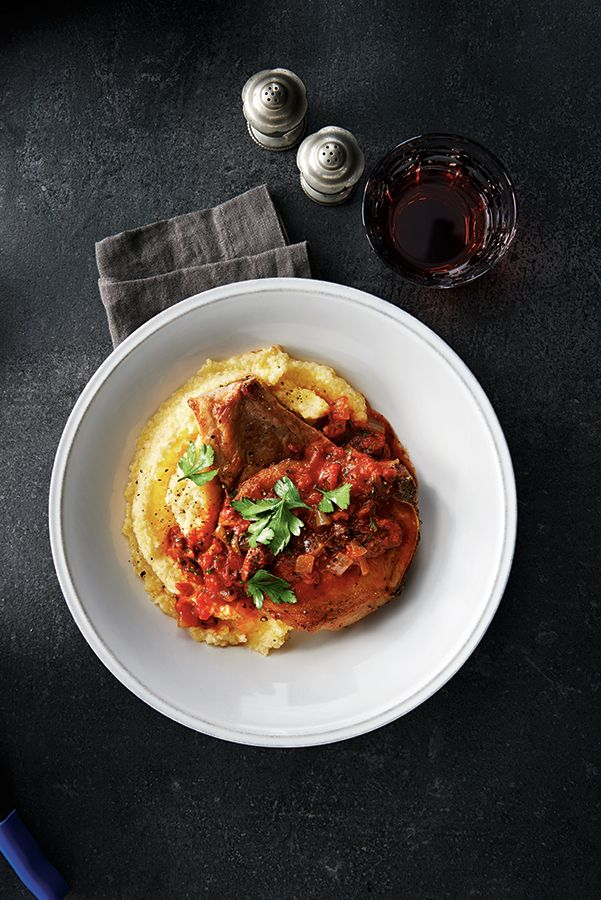 Pork Puttanesca with Creamy Polenta