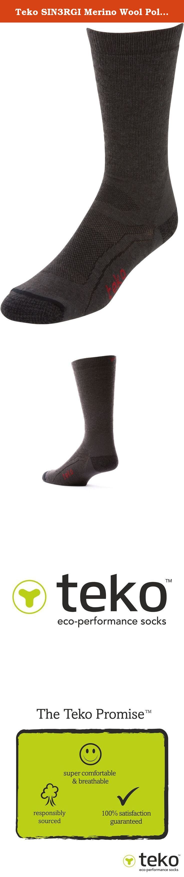 """Teko SIN3RGI Merino Wool Poly Blend Lightweight Casual Walking and Hiking Socks, Charcoal/Black, Large. Teko Socks remains committed to merino wool as a core yarn within all of their socks. Teko's process of combing merino with ultra fine recycled synthetic yarns has resulted in significant performance benefits including improved durability, faster drying times and overall improvements in both the comfort and fit of their Planet Positive socks. The Wikipedia definition of Synergy is """"two…"""