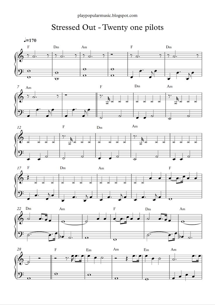 Free piano sheet music: Stressed out - Twenty one pilots .pdf We used to play pretend, give each other different names, we would buil...