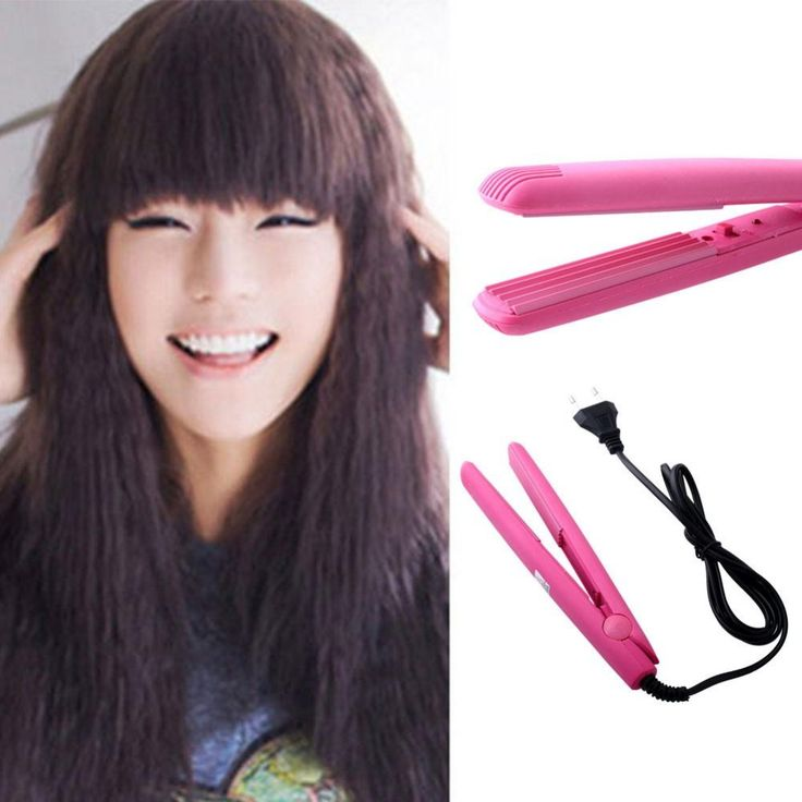 Pink Hair Crimper Flat Iron Mini Perm Hairdressing Tool Styling Hair Waver Curls