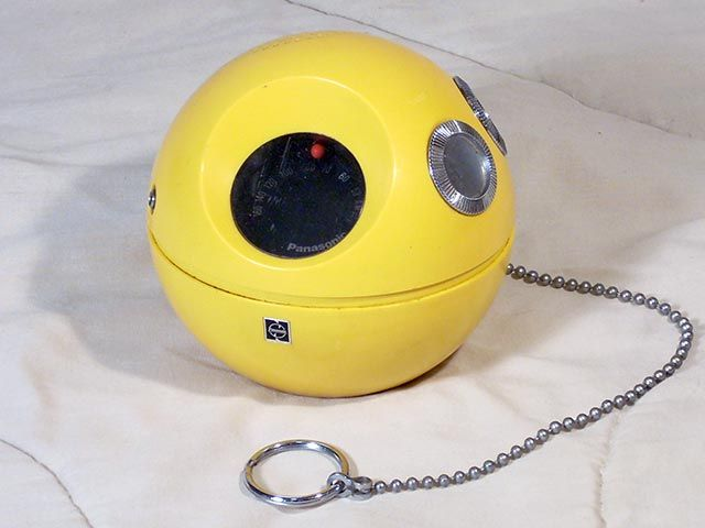 Panasonic R-70 Panapet transistor radio. With a long chain to hang off of stuff.