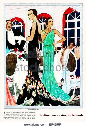 Le Diner Au Casino, 1930s French fashion magazine illustration, evening gowns by Philippe et Gaston - Stock Image
