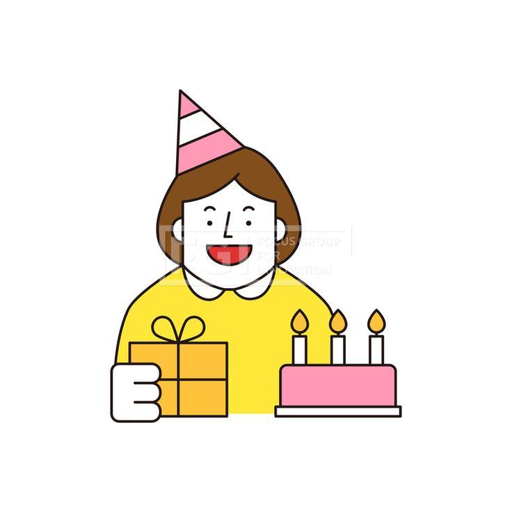 ILL161, 프리진, 일러스트, 생활, 사람, ILL161, 캐릭터아이콘, 캐릭터, 인물, 손짓, 상반신, 손가락, 핸드모션, 동작, 청년, 여성, 여자, 이벤트, 생일, 축하, 케이크, 촛불, 선물, 선물상자, 모자,#유토이미지