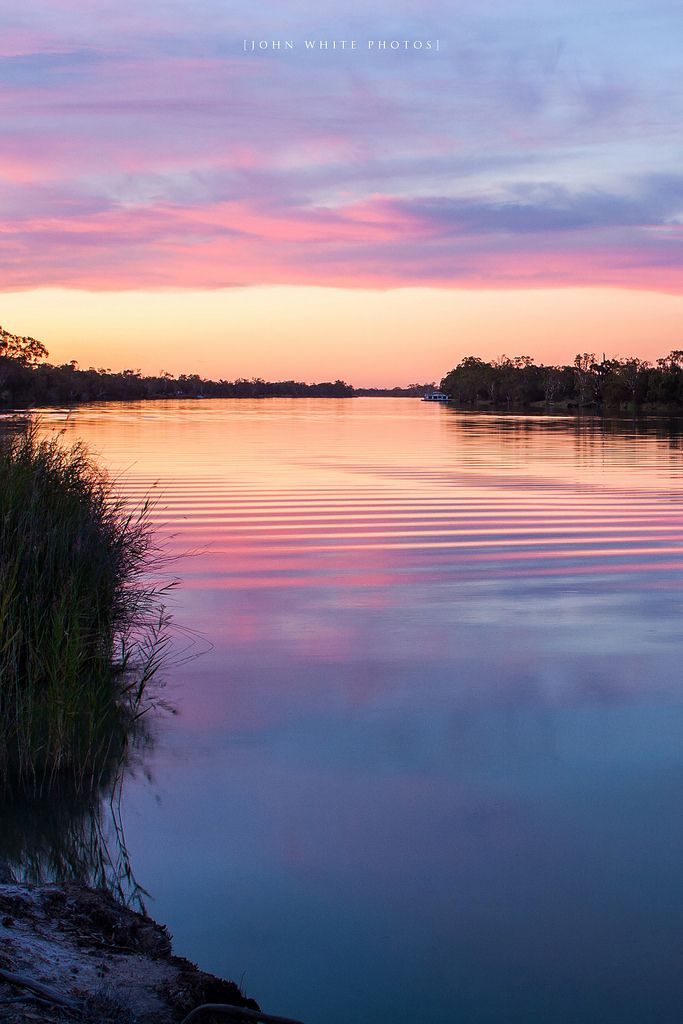 Distant boat at Sunset, Murray River South Australia by John White Photos