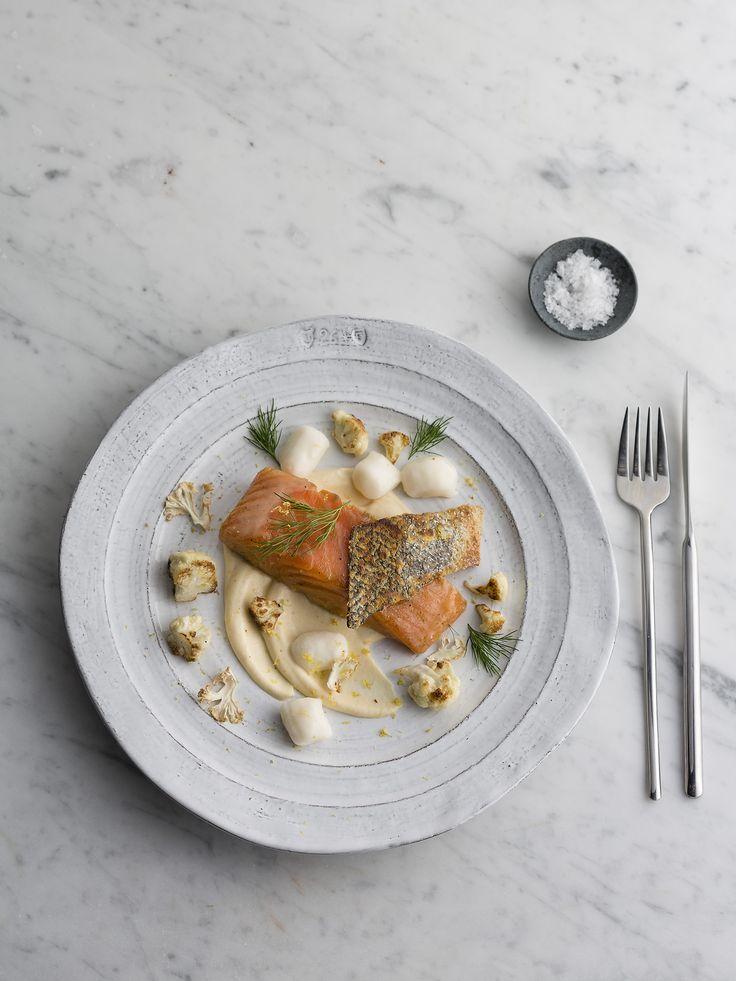 "Thermomix   Confit salmon, parmesan gnocchi with cauliflower cream   Entertaining with Dani Valent cookbook + recipe chip   ""A bit cheffy"" menu plan  "