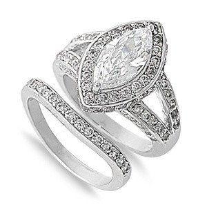 A Perfect 3CT Marquise Cut Halo Russian Lab Diamond Wedding Ring Bridal Set