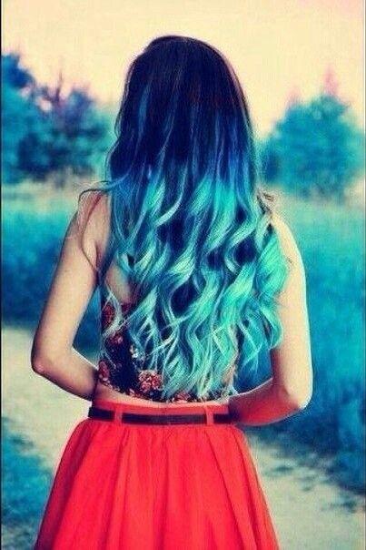 Color hair, цветные волосы, голубые, синие, юбка, топик, топ