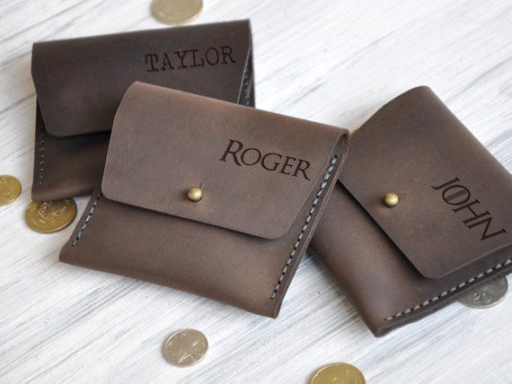 Leather Coin Purse Personalized Mens Gift Leather Pouch Wallet for Him Birthday Gift for Boyfriend Custom Coin Purse Fathers Day Gift Ideas