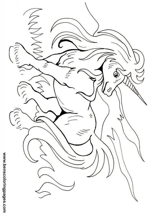 unicorn coloring pages for kids - Art Nouveau Unicorn Coloring Pages