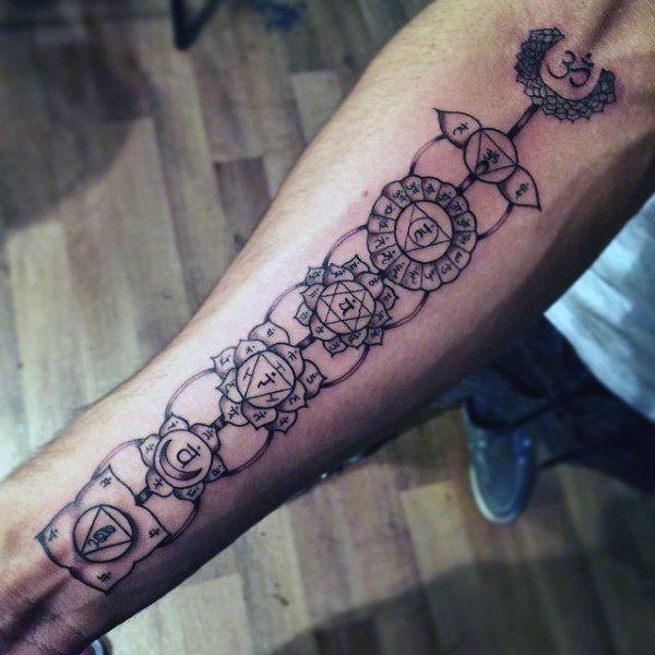 Mens Black Ink Outlien Chakras Inner Forearm Tattoo