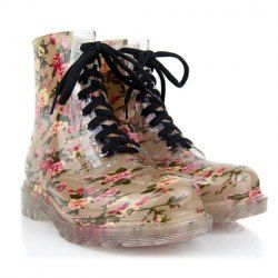 $12.84 Sweet Women's Rain Boots With Floral Print and Lace-Up Design