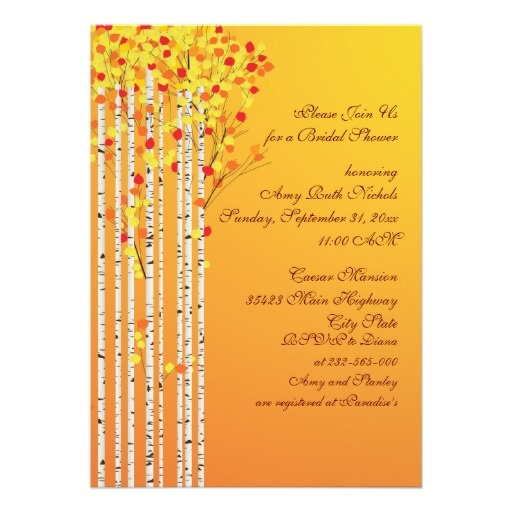 #Birch #trees in #fall colors #custom  #wedding bridal shower #invitation with #yellow, #orange, #red #leaves and #white #bark, part of a wedding set. #bridalshower, #weddings, #bride, #fallwedding, #autumnwedding #autumn