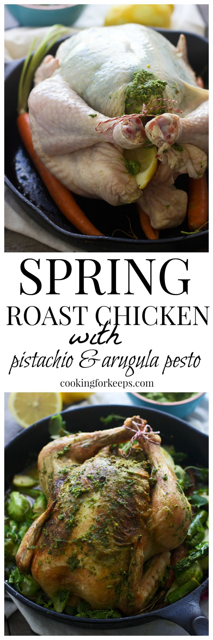 Roast Chicken with Pistachio and Arugula Pesto (And the best roast chicken I've ever had!)