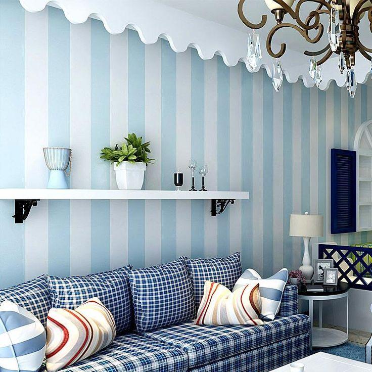 Die besten 25+ blau gestreiften Wände Ideen auf Pinterest - wohnzimmer tapete blau