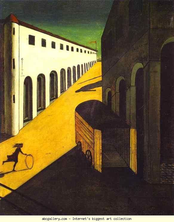 Georgio de Chirico: Mystery and Melancholy of a Street.  Georgio de Chirico was influenced by Nietzsche's philosophy and Bocklins Symbolist art.  He was founder (with Carlo Carra) of Metaphysical Painting.