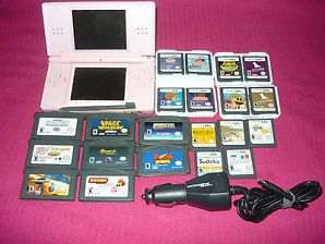 BUNDLE Nintendo DS Lite Pink System 8 GBA & 13 DS Games, Car charger Some Issues